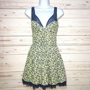 Free People Floral Lace Mini Sun Dress Mesh Hem s2